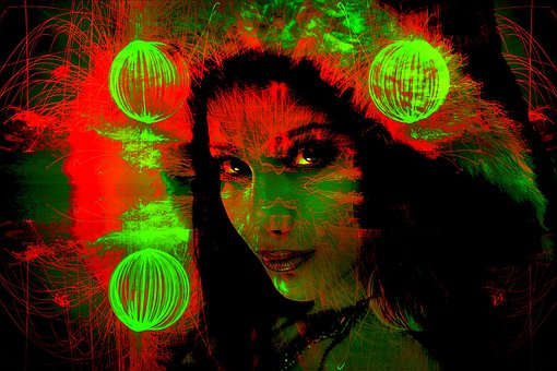 Pop Art, Fireworks, Woman, Face, Gradient Mask