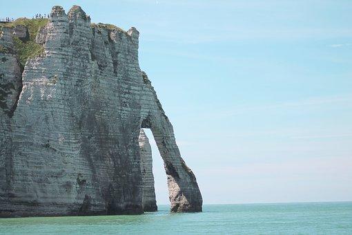 Cliff, Sea, Normandy, Etretat, Landscape, France, Ocean
