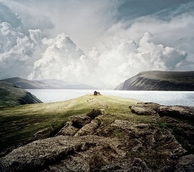 Landscape, Mountains, Sea, House, Autumn, Deserted