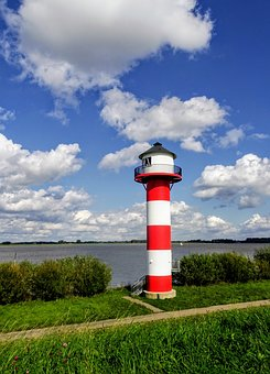 Lighthouse, Elbe, River, Dike