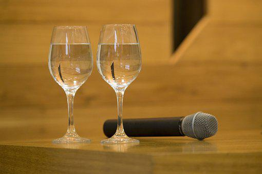 Microphone, Bowls, Water, Wood