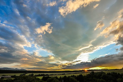 Sunset, Panorama, Horizon, Clouds
