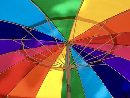Umbrella, Rainbow, Colorful, Bright, Sunny, Summer