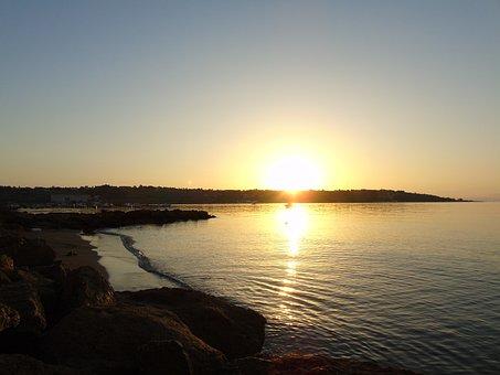 Dawn, Sea, Horizon, Italy, Sun, Water, Sky, Tranquility