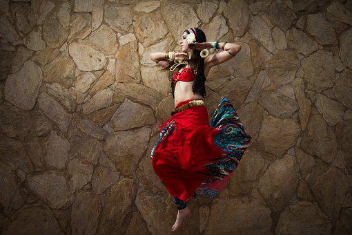 Women, Jump, Dance, Photo, Red, Tribal, Arabic, Style