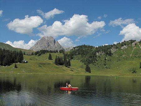 Körbersee, Boot, Alpine, Austria, Vorarlberg, Holiday