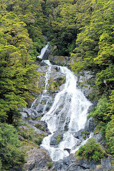 Waterfall, Green, Natural, Landscape, Water, Stone