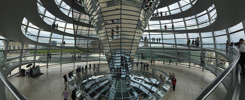 Berlin, Germany, Reichstag, Roof, Dome, Visitors