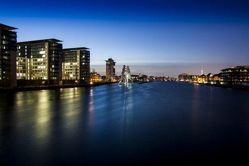 Berlin, Night, Spree, River, Architecture, Germany