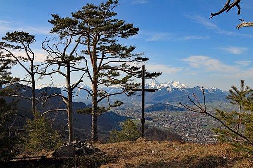 Austria, Emsreute, Hohenems, View, Säntis, Alpine, Sky