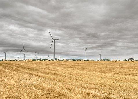 Cornfield, Harvest, Wind Power Plant, Straw Bales