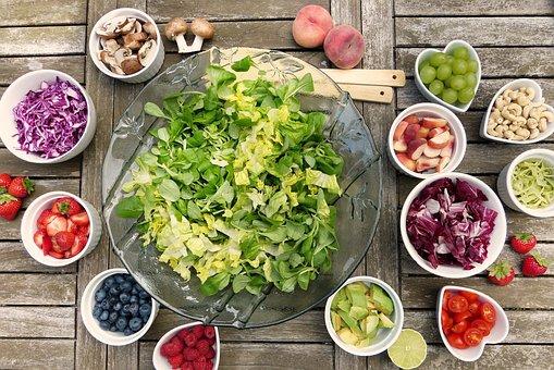 Salad, Fruits, Fruit, Berries, Nuts, Avocado, Radicchio