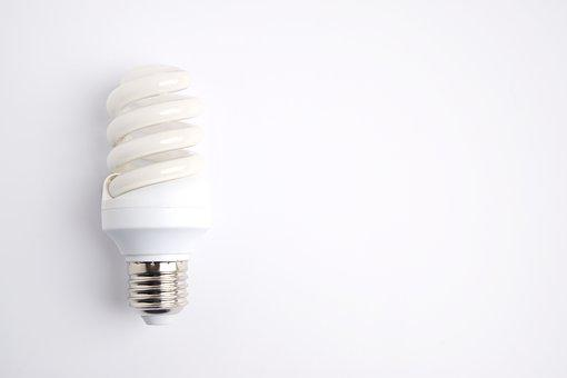 Lightbulb, Electricity, Copy Space, White, Background