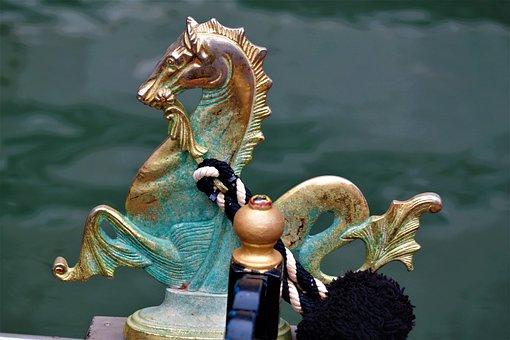 Seahorse, Gondola, Venice, Water, Channel