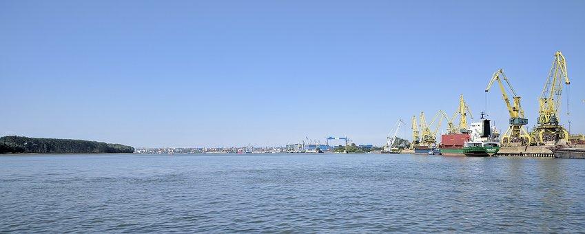 Port, Danube, River, Galati, Ship, Water, Crane