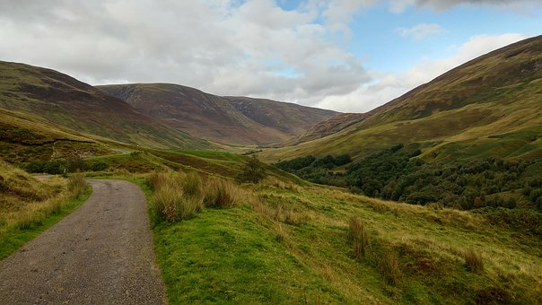 Valley, Winding Road, Scotland, Glen Roy, Countryside