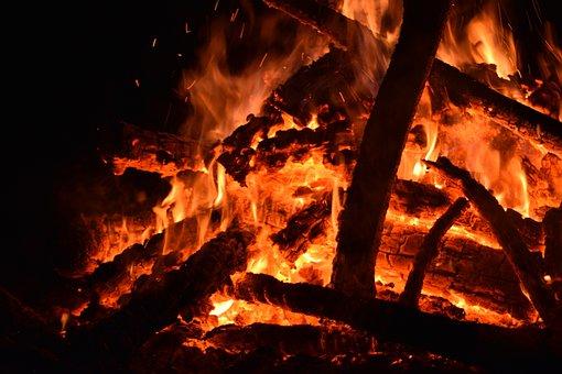 Fire, Flames, Firewood, Bonfire, Fireplace, Hot, Heat