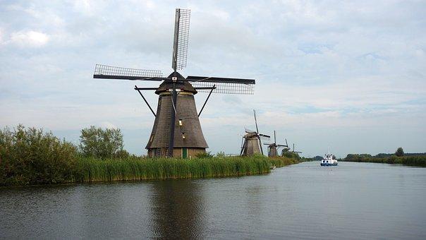 Mills, Kinderdijk, Windmills, Landscape