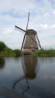 Mill, Reflection, Kinderdijk, Wind Mill, Landscape