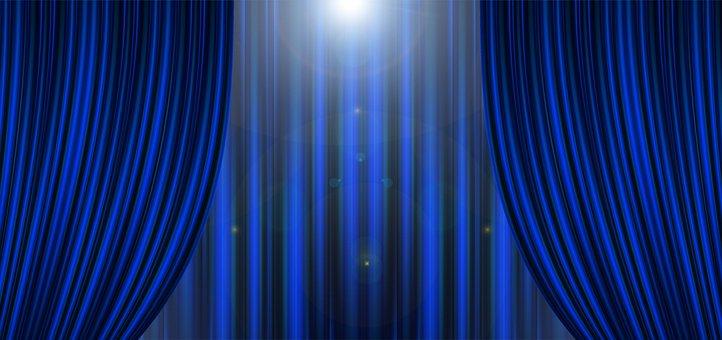 Theater, Cinema, Curtain, Stripes, Blue, Light
