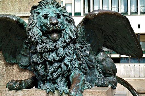 Lion, Venice, Statue, Pegasus, Italy, Bronze