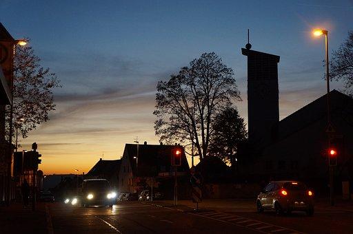 Esslingen, High Cross, Church, Evening Sky, Dusk, Night