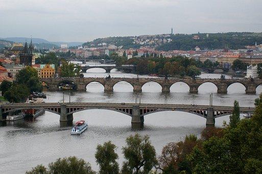 Bridges, Landscape, Prague, Architecture, Panorama