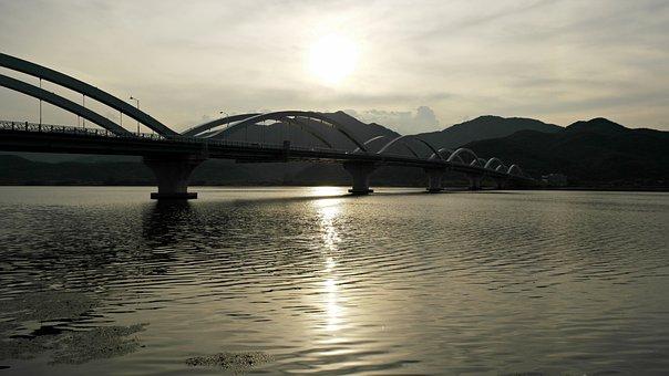 Yangpyeong, Semi Circle, Han River, River, Sunset