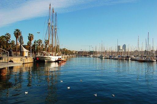 Port Of Barcelona, Sailboat, Quiet Morning