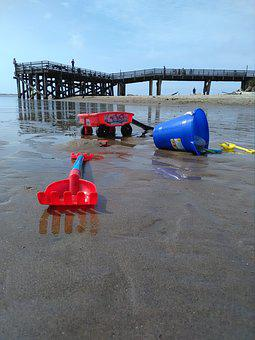 Beach, Toy, Shovel, Plastic, Water, Sand, Dock, Sun