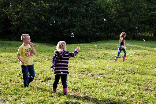 Children, Playing, Soap Bubbles, Kids, Childhood, Boy