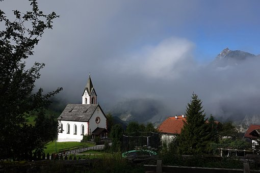 Church, Homes, Fog, Building, Nature, Steeple, Sky