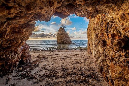 Cave, Sea, Rock, Landscape, Nature, Water, Stone, Sky
