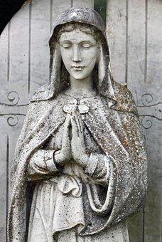 Stone, Statue, Woman, Cemetery, Madonna, Graveyard