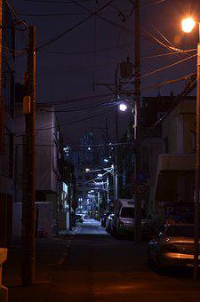 Alley, Street Lights, Home, Night, The Evening Light