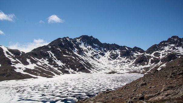 Frozen, Mountain, Lake, Wilderness, Ice, Landscape