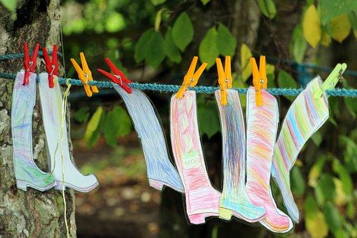 Wellies, Art, Washing Line, Kids Art