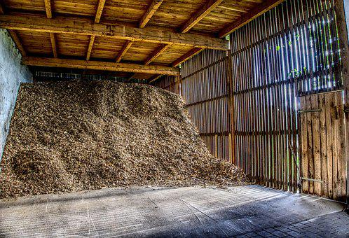 Barn, Wood, Stock, Wood Chips, Bark Mulch, Sunbeam