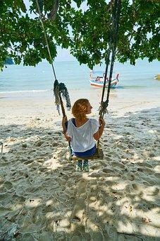 Swing, Marine, Beach, Women's, Coastal, Landscape