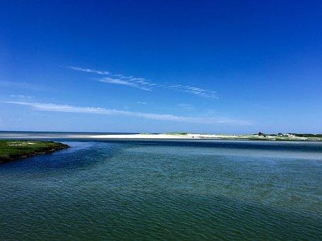 Sand And Blue Sky, Beautiful Shoreline, Horizon