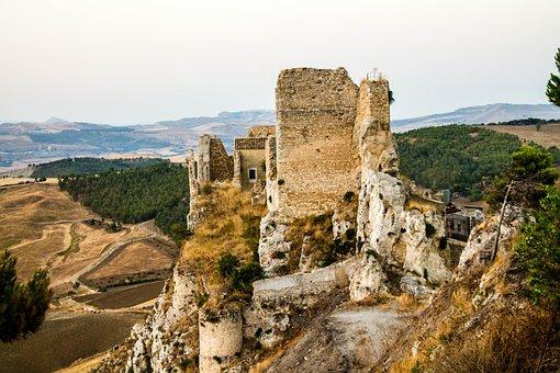 Castle, Middle Ages, Borgo, Landscape, Fortress, Hills