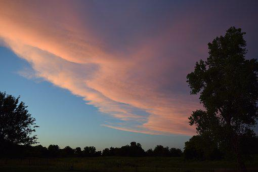 Sky, Sunset, Clouds, Pink, Blue, Colorful, Summer