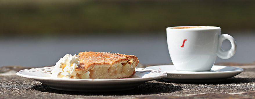 Coffee, Cake, Apple Pie, Coffee And Cake, Afternoon