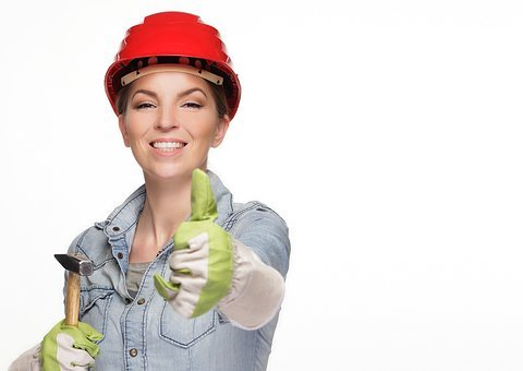 Woman, Construction Helmet, Tool, Construction Workers