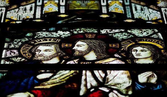 Jesus, Stained, Glass, Window, Saint, Peter, John
