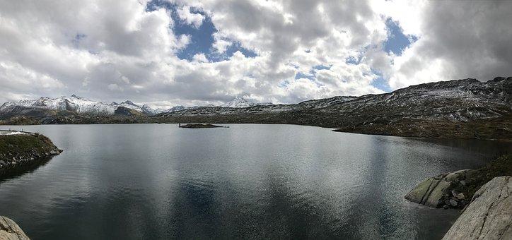 Panorama, Lake, Mountain, Nature, Landscape, Water, Sky