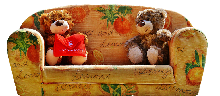 Teddies, Teddy, Plush Toys, Couch, Mother's Day, Love