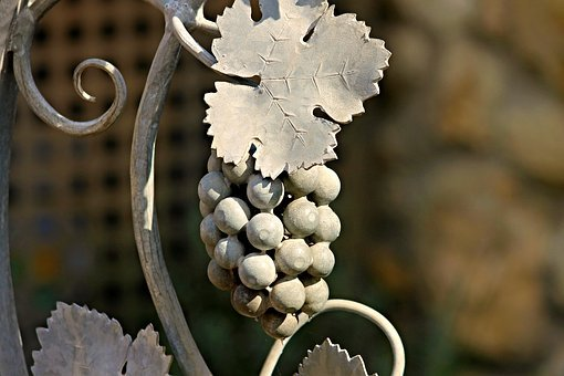 Grape, Wine Leaf, Metal, Ornament, Hand Labor, Forged