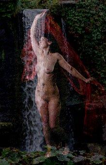 Woman, Waterfall, Nude, Relax