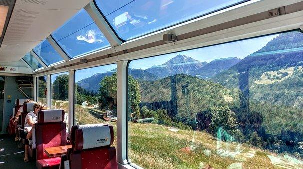 Glacierexpress, Switzerland, Train, Panorama, Alps